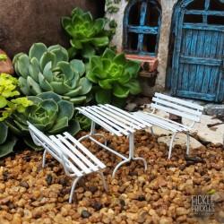 Mini Garden Bench Table Setting White