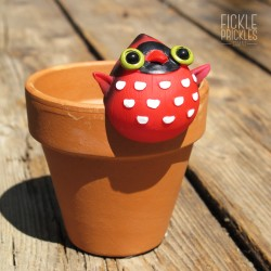 Bird Pot Pal - Red & White