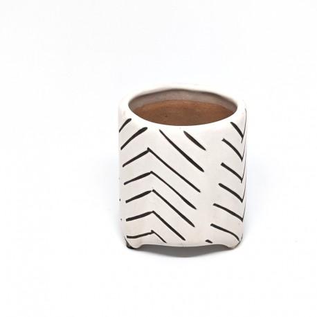 Footed Planter Pot 8cm - Stripes