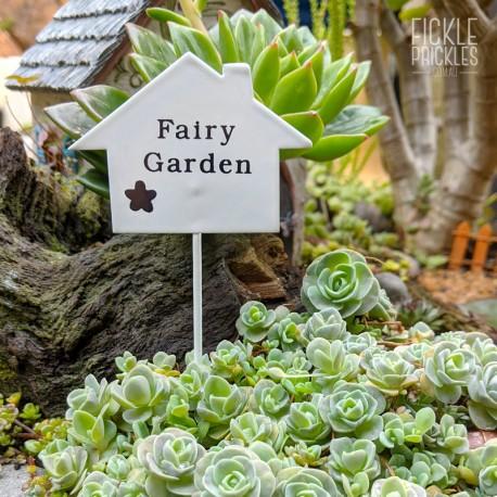 Mini Fairy Garden Sign - White