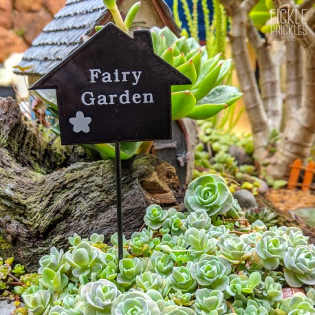 Mini Fairy Garden Sign - Black
