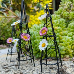 Mini Black Obelisk Trellis Set 3
