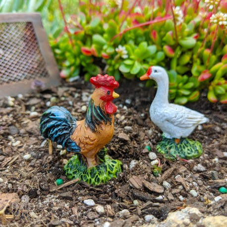 Mini Goose and Rooster - Set of 2