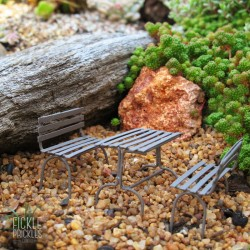 Mini Garden Bench Table Setting Brown
